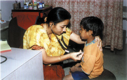 Medical examination carried out for a poor child by Trust.